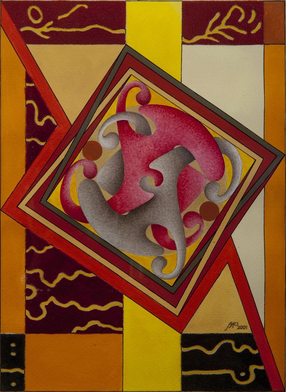 Dimora dell'Archetipo in rosso, 2001 - Tecnica mista su carta, cm 30,5x23