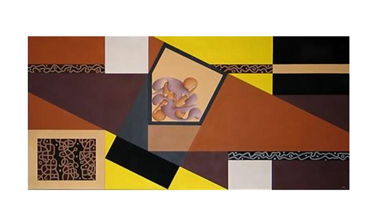Codice Algenico - Grande Archetipo pentagonale, 2003 - Tecnica mista su tela, cm 100x200