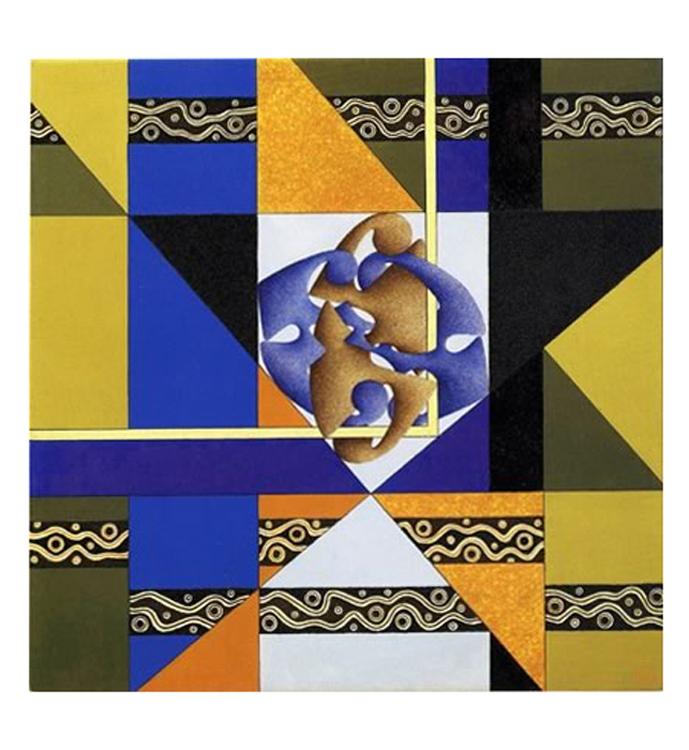 Codice Algenico - Alato, 2005 - Tecnica mista su tela,  cm 50x50