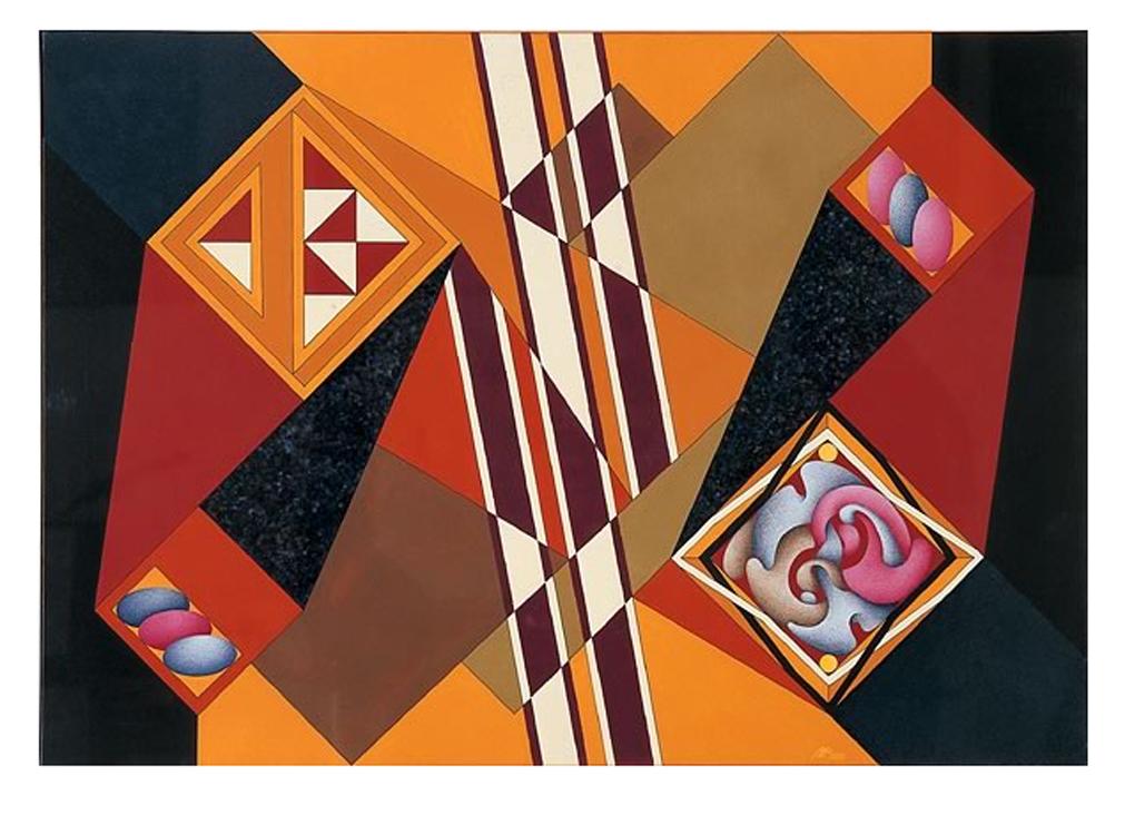 Elogio del Quadrato - Intersecante 6, 2001 - Tecnica mista su tela, cm 70x100