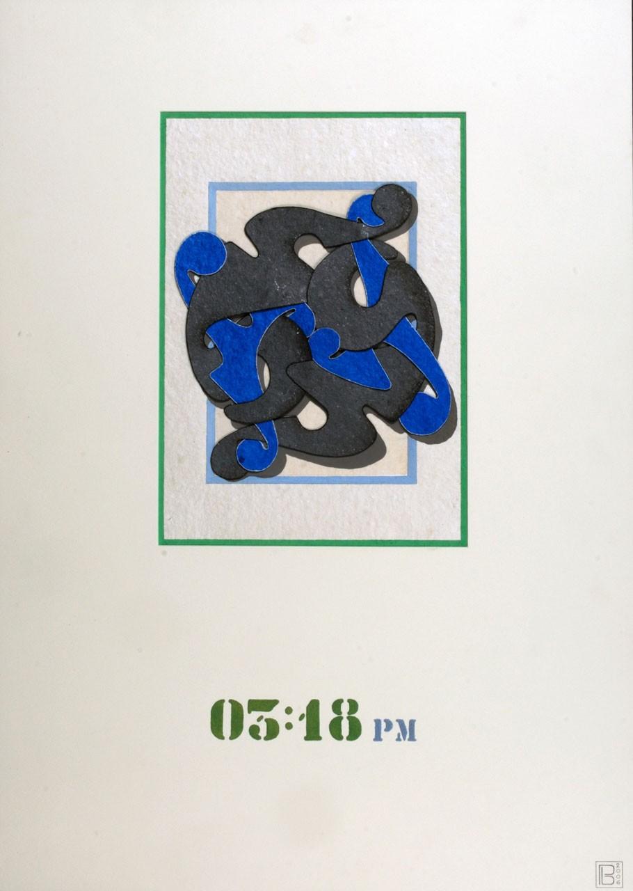 Sagomato - Archetipo Segnasole 03 18 pm , 2006 - Collage carte a mano e quarzite, cm 70x50