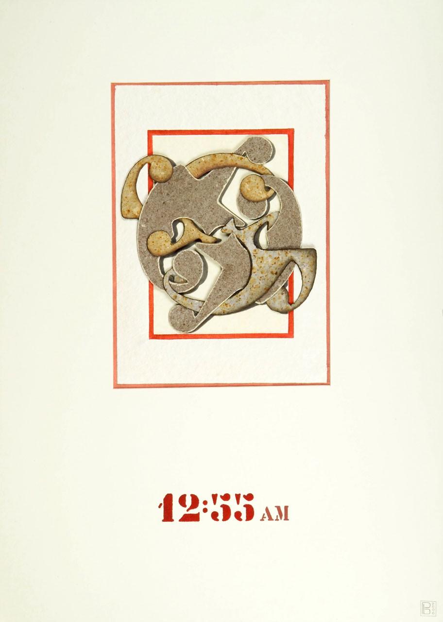 Sagomato - Archetipo Segnasole 12 55 am,  2006 - Collage carte a mano e quarzite, cm 70x50
