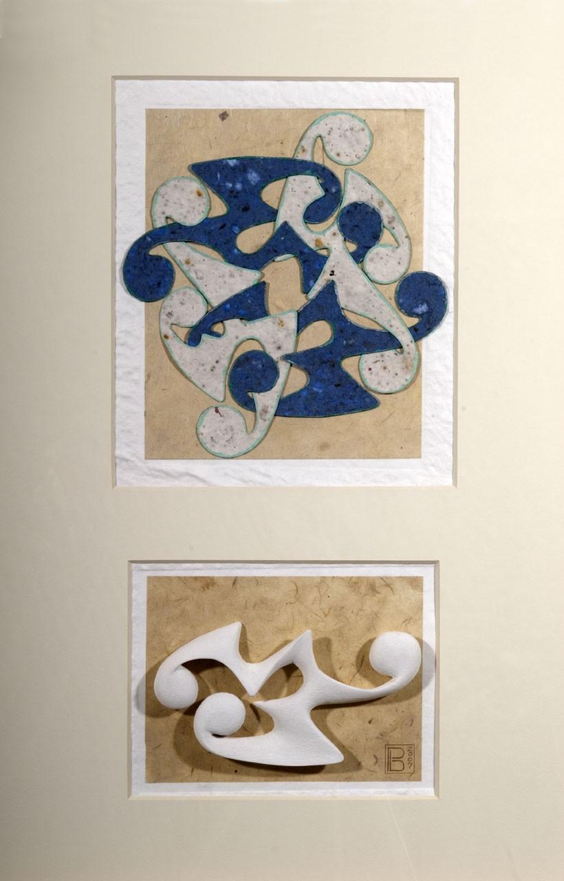Sagomato - Bound II, 2007 - Collage carte a mano ed elemento plastico, cm 70x50