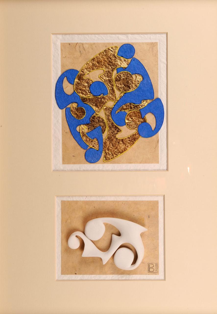 Sagomato - Bound  IV, 2008 - Collage carte a mano ed elemento plastico, cm 70x50