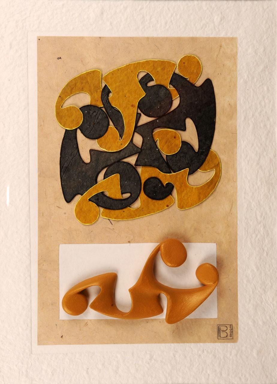 Sagomato - Painted Bound II, 2008 - Collage carte a mano ed elemento plastico dipinto, cm 70x50