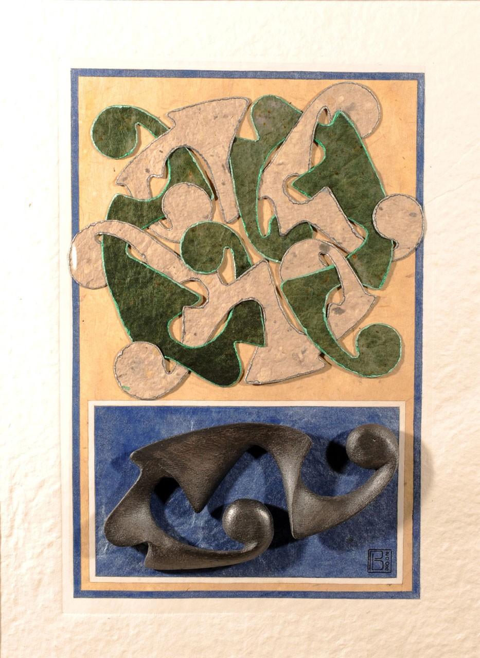 Sagomato - Painted Bound IIII, 2008 - Collage carte a mano ed elemento plastico, cm 70x50