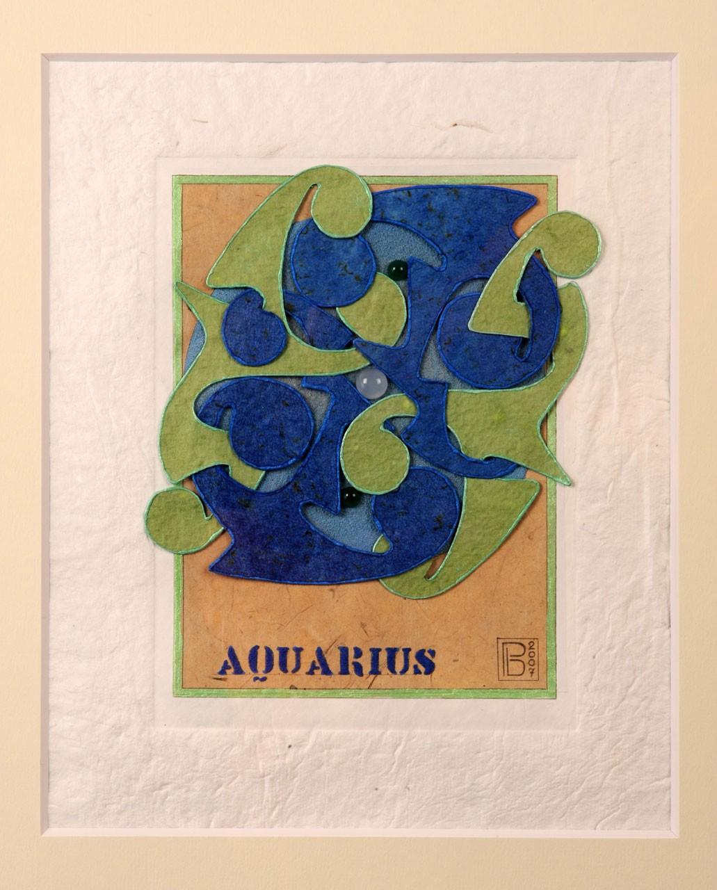 Sagomato - Zodiac Aquarius, 2007 - Collage carte a mano, quarzite e pietre semipreziose, cm 35x26