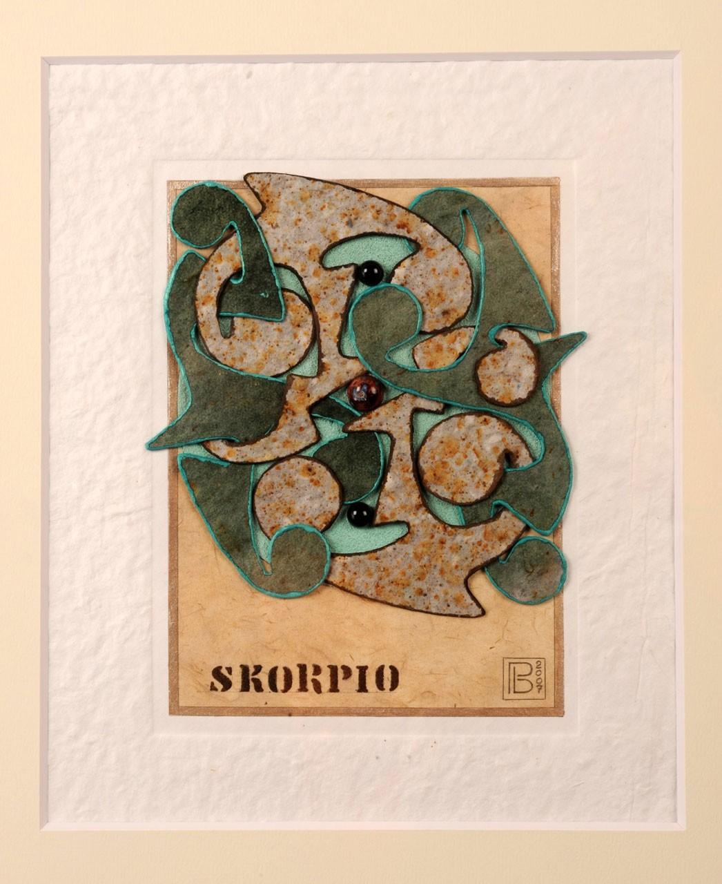 Sagomato - Zodiac Skorpio, 2007 - Collage carte a mano, quazite e pietre semipreziose, cm 35x26
